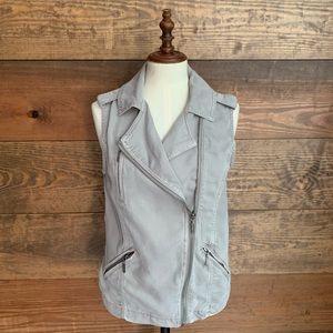 Max Jeans Gray Tencel Moto Vest